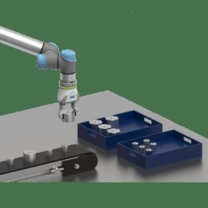 Pick & Place-Anwendung zum Sortieren von zufällig ankommenden Werkstücken in Ablagekisten. Der Greifer ermöglicht die Handhabung von Werkstücken mit unterschiedlichem Durchmesser.