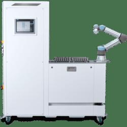 Palettierer für Cobots und Roboter, Zuführung und Stacker UR5e, Palettenhandling, Automation